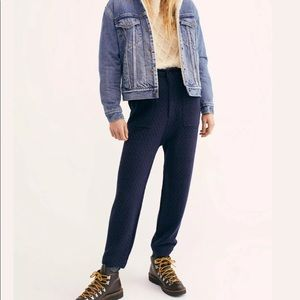New Free People Navy Cozy Knit Trouser Pants